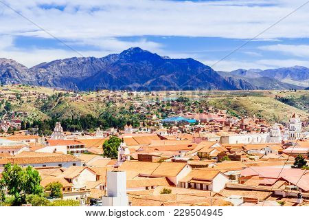View On Cityscape Of Colonial Town Of Sucre - Bolivia