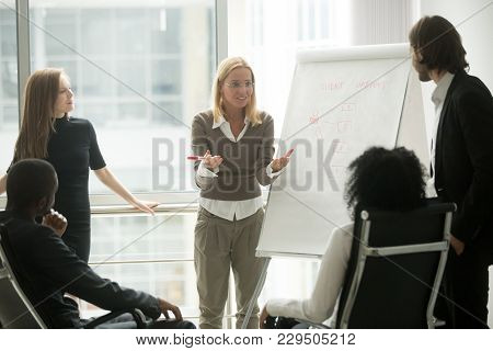 Female Team Leader Or Business Coach Gives Presentation To Multi-ethnic Partners Employees Group Exp