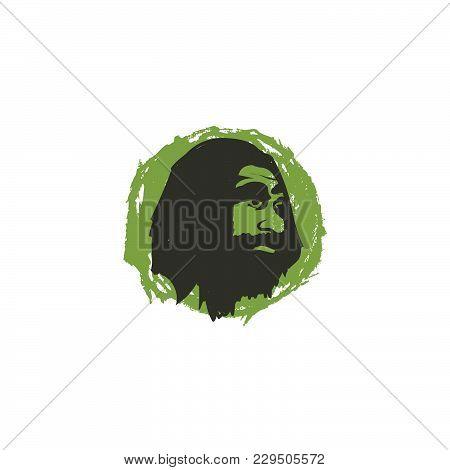 Vector Logo Caveman Head, Ancient Logo Icon, Ancient Human Illustration For Vintage Logo, Logo App