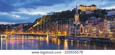 Bridge Over River Saone At Night, Lyon, France