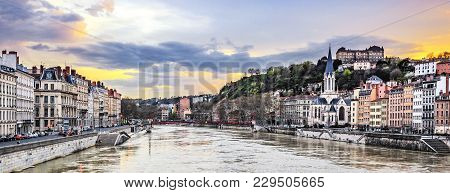 Saone River In Lyon City At Sunset,  France