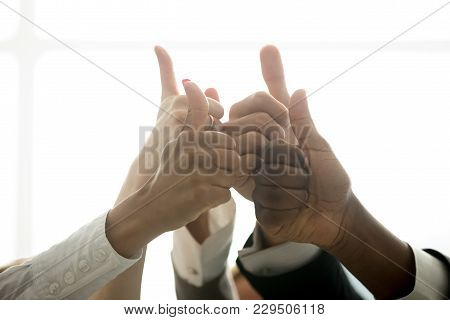 Multiracial Team Hands Showing Thumbs Up Finger Gesture, Motivated Diverse Corporate Group Showing L