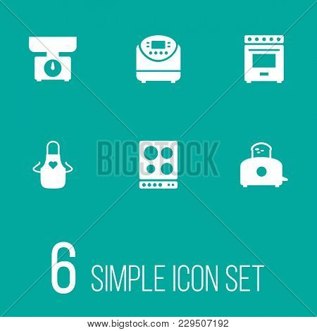 Set Of 6 Culinary Icons Set. Collection Of Stove, Multicooker, Apron And Other Elements.