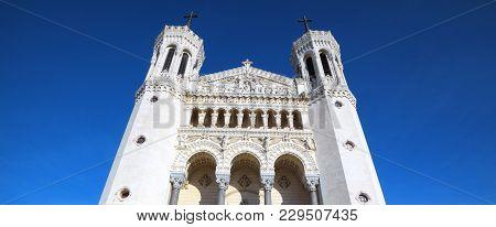 Famous Basilica Of Notre-dame De Fourviere In Lyon, France