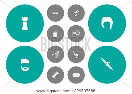 Set Of 12 Barbershop Icons Set. Collection Of Moustache, Scissors, Scallop And Other Elements.