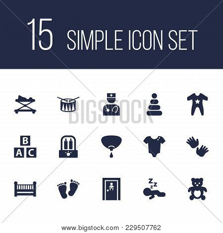 Set Of 15 Child Icons Set. Collection Of Drum, Infant, Walker And Other Elements.