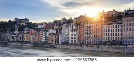 Famous View Of Saone River In Lyon City At Sunset, France