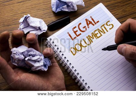 Word, Writing Legal Documents. Concept For Contract Document Written On Notebook Notepad Note Paper