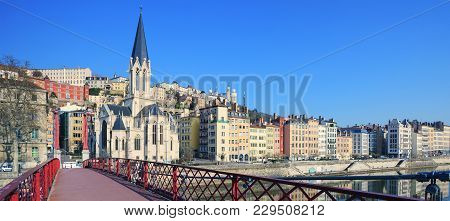Famous View Of Saone River And Red Footbridge In Lyon City, France