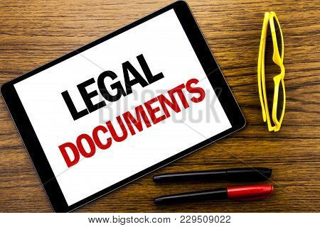 Writing Text Showing Legal Documents. Business Concept For Contract Document Written Tablet Laptop,