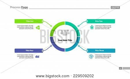 Circle Process Diagram With Four Segments. Step Chart, Timeline, Template. Creative Concept For Info