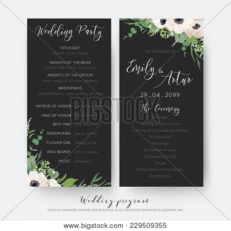 Wedding Ceremony And Party Program Card Elegant Design With Watercolor Light Mauve Anemone Flowers,