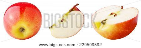 Isolated Apples. Set Of Freshly Slices Apple Isolated On White Background With Clipping Path As Pack