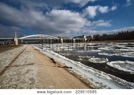 Ice On The River Warta In Poznan