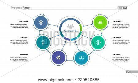 Mindmap Diagram With Six Options. Process Diagram, Flow Chart, Editable Template. Creative Concept F