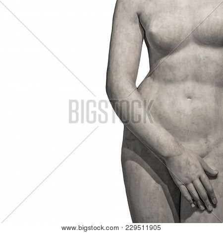 Marble Body Lines Of Young Naked Roman Woman At White Background, Rome, Italy