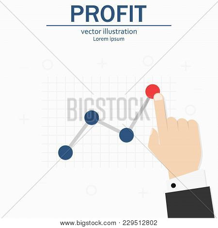 Profit Concept, Growing Business Graph. Template Investment. Finger Up Holding Chart Arrow.flat Styl