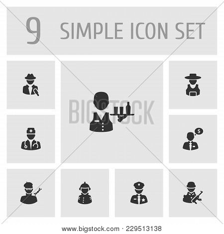 Set Of 9 Position Icons Set. Collection Of Servant, Rancher, Officer And Other Elements.