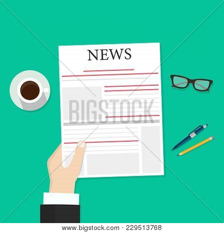 Newspaper In Hands Illustration, Flat Cartoon Person Reading News In Newspaper While Coffee Break To