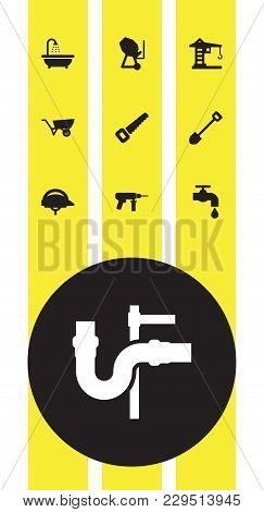 Set Of 10 Construction Icons Set. Collection Of Building Machinery, Spade, Hacksaw And Other Element