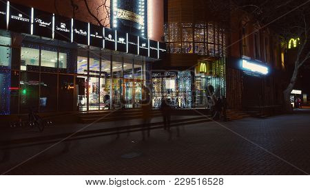 Gelendzik, Russia - February 01, 2018: Modern Shoping Center And Macdonalds At Nigth In City.