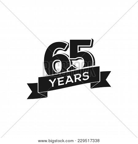 Vector 65 Years Anniversary Logotype. Isolated Black Logo 65th Jubilee On White Background