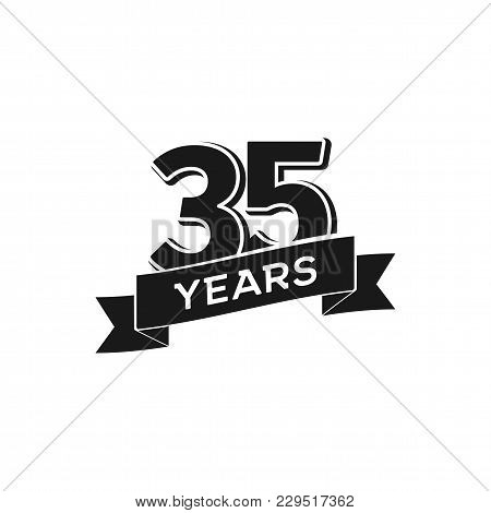 Vector 35 Years Anniversary Logotype. Isolated Black Logo 35th Jubilee On White Background