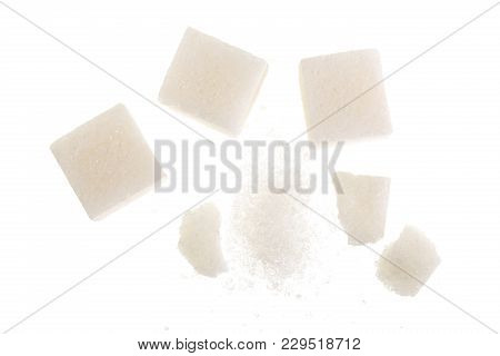 Sugar Cubes Isolated On White Background, Close Up. Top View. Flat Lay.