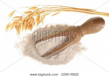 Oat Spike With Flour In Wooden Scoop Isolated On White Background. Top View. Flat Lay.