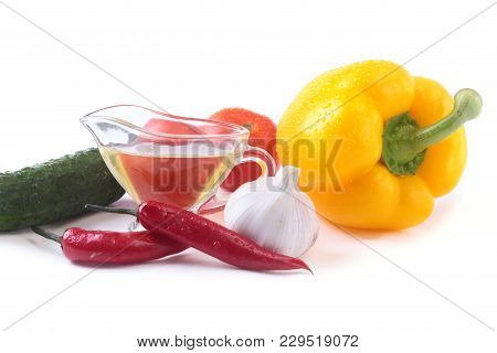 Assorted Vegetables, Fresh Bell Pepper, Tomato, Chilli Pepper, Cucumber, Olive Oil, Garlic And Lettu