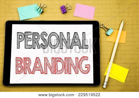 Word, Writing Personal Branding. Business Concept For Brand Building Written On Laptop, Wooden Backg