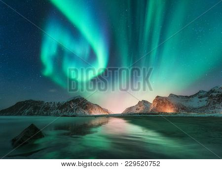 Aurora Borealis In Lofoten Islands, Norway
