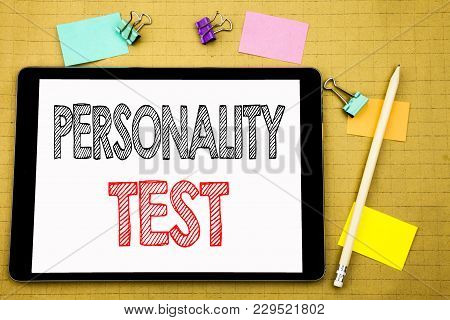 Word, Writing Personality Test. Business Concept For Attitude Assessment Written On Laptop, Wooden B