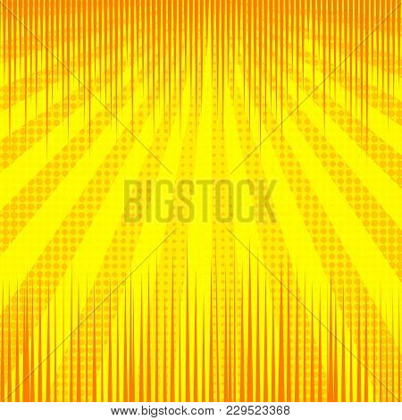 Comic Yellow Bright Super Blank Background With Rays Radial And Dotted Effects. Vector Illustration
