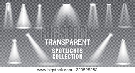 Big Collection Realistic White Scene Illumination, Theater Studio, Business Presentation Spotlights