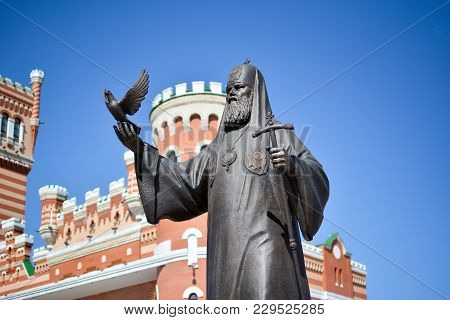 Yoshkar-ola, Russia - May 9, 2015 Monument To Patriarch Of Moscow And All Russia Alexy Ii