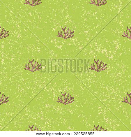 Seamless Pattern Aquatic Plant Background. Vintage Vector Illustration