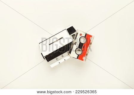 Retro Audio Cassette And Vintage Tape Player Isolated On White Background. Black-and-white Walkman,