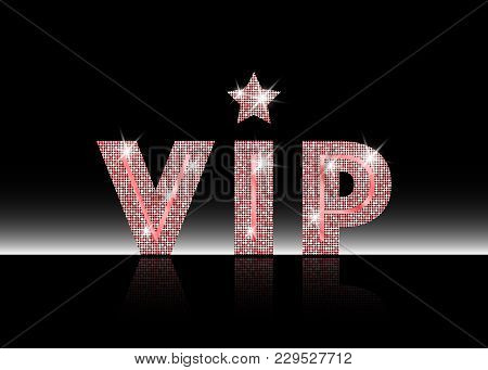 Pink Gold Symbol Of Exclusivity, The Label Vip With Glitter. Very Important Person - Vip Icon On Whi
