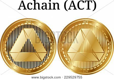 Set Of Physical Golden Coin Achain (act), Digital Cryptocurrency. Achain (act) Icon Set. Vector Illu