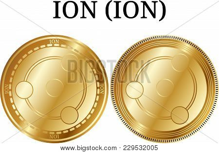 Set Of Physical Golden Coin Ion (ion), Digital Cryptocurrency. Ion (ion) Icon Set. Vector Illustrati