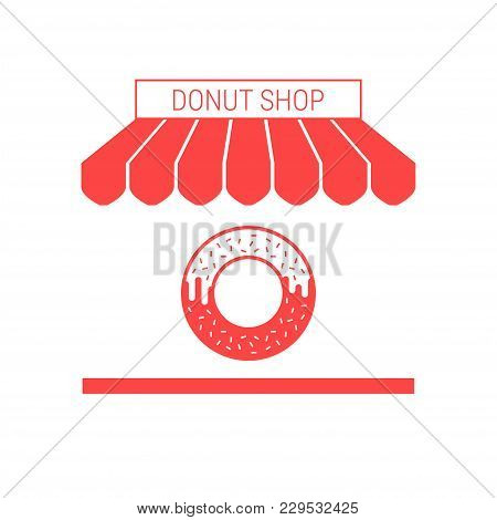 Donut Shop Single Flat Vector Icon. Striped Awning And Signboard. A Series Of Shop Icons.