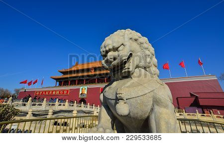 Beijing, China - Mar 1, 2018. Lion Statue Of Tiananmen Square In Beijing. In Protests Of 1989, Chine