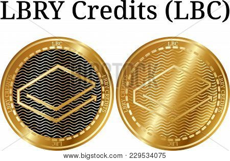 Set Of Physical Golden Coin Lbry Credits (lbc), Digital Cryptocurrency. Lbry Credits (lbc) Icon Set.