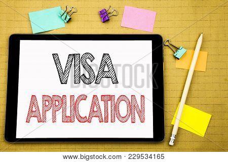Word, Writing Visa Application. Business Concept For Passport Apply Written On Laptop, Wooden Backgr