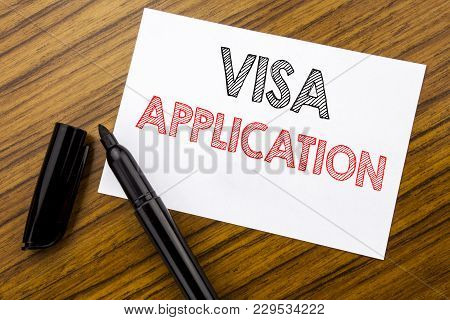Writing Text Showing Visa Application. Business Concept For Passport Apply Written On Sticky Note Pa