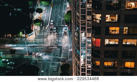 Aerial View Of An Intersection In Downtown Los Angeles, Ca