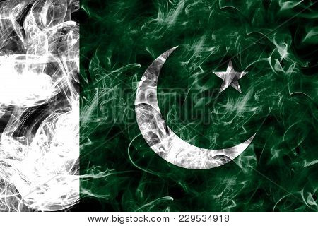Pakistan Smoke Flag Isolated On A Black Background