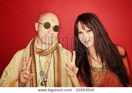 Hippies With Peace Sign