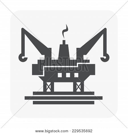Oil Rig And Crane Icon On White.